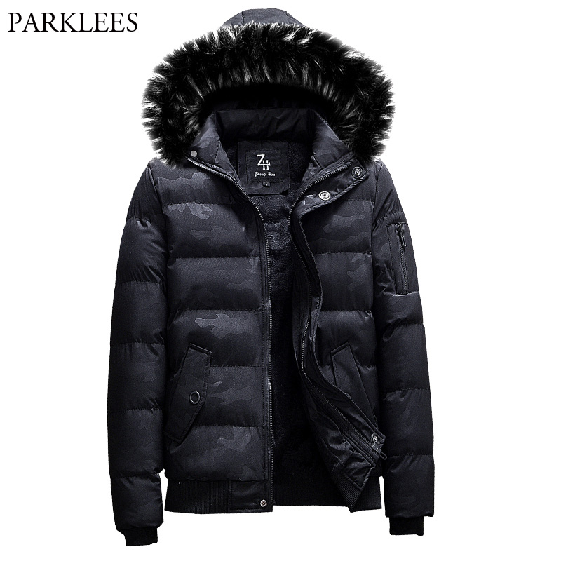 Men's Autumn Winter Fur Collar Hooded Parka Coat 2018 Fashion Camouflage Cotton Padded Warm Jacket Men Parkas Hombre Invierno