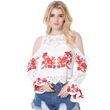2017 Summer Autumn Brand New Women Long Flare Sleeve Strapless Cotton Shirts Female Fashion Hollow Out Lace Patchwork Blouses