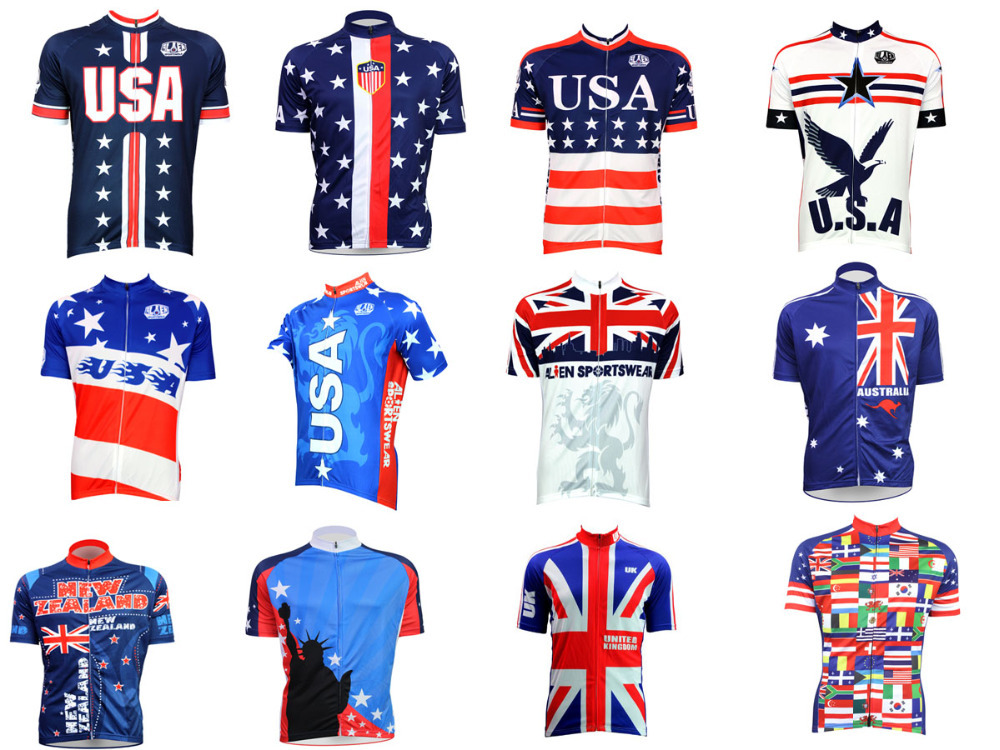 Newest National USA UK New Zealand Blue Red White Flag Cycling Jersey 1512e3755