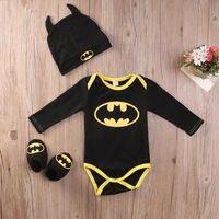 2016 Fashion Newborn Baby Boy Clothes Batman Cotton Romper Shoes Hat 3Pcs Outfits Set S Clothing