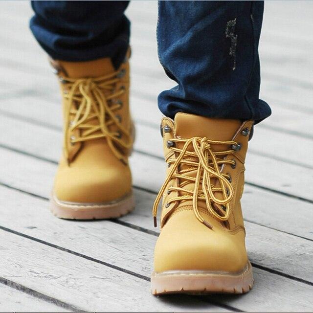 1077830e44c € 56.18 |El nuevo estilo 2015 hombres auténticos hombres botas de cuero  para hombre de aterrizaje invierno nieve botas moda Martin occidentales ...