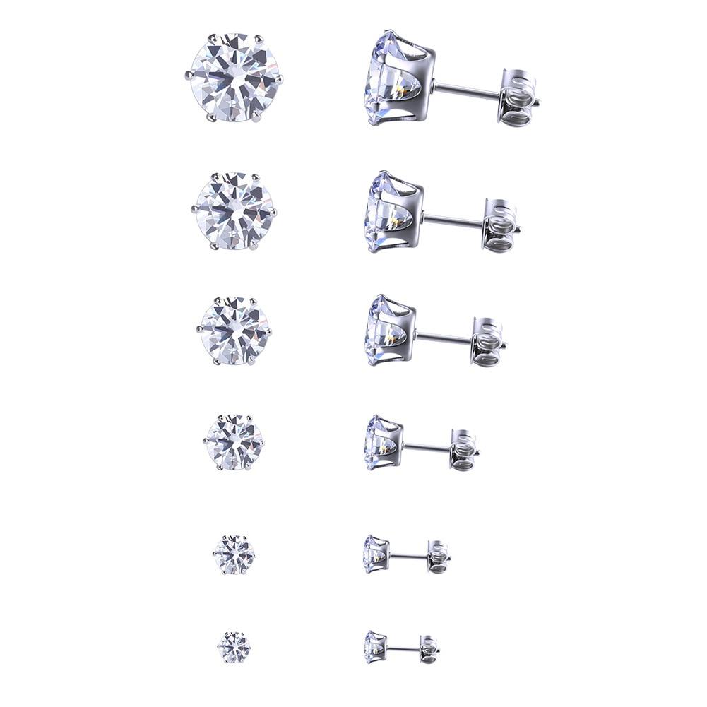Set Aaa Zircon Earrings Fashion Jewelry For Women Stainless Steel  Round White Black