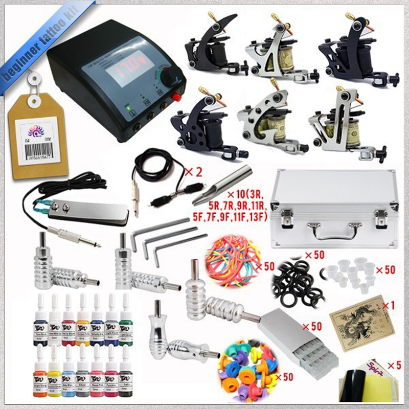 Cheap tattoo machines Complete Tattoo Kit Guns wrap coils guns machine tattoo ink sets power supply