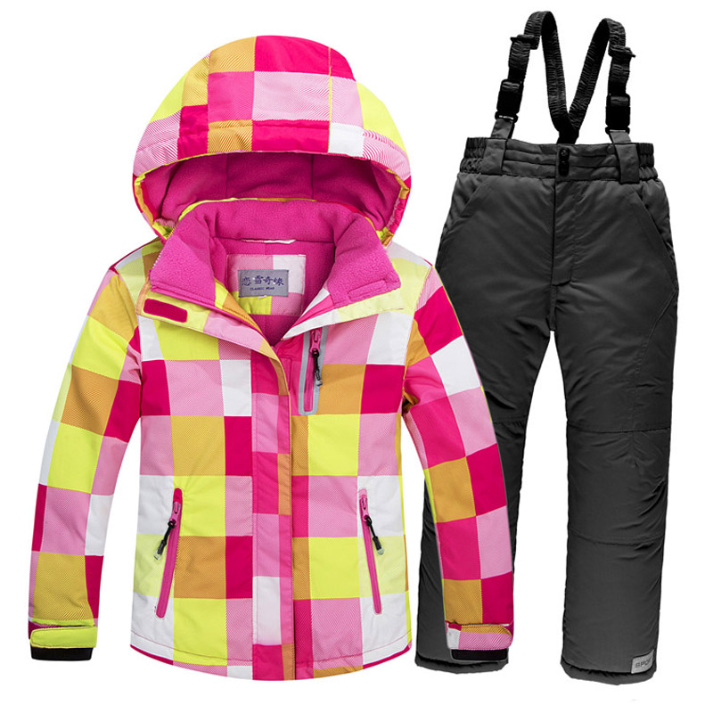 New ski jacket+pants snowsuit fur lining ski suit kids winter clothing set for boys and girls new skiing sports coat 4-16a ковер мурзики 1000 1500мм