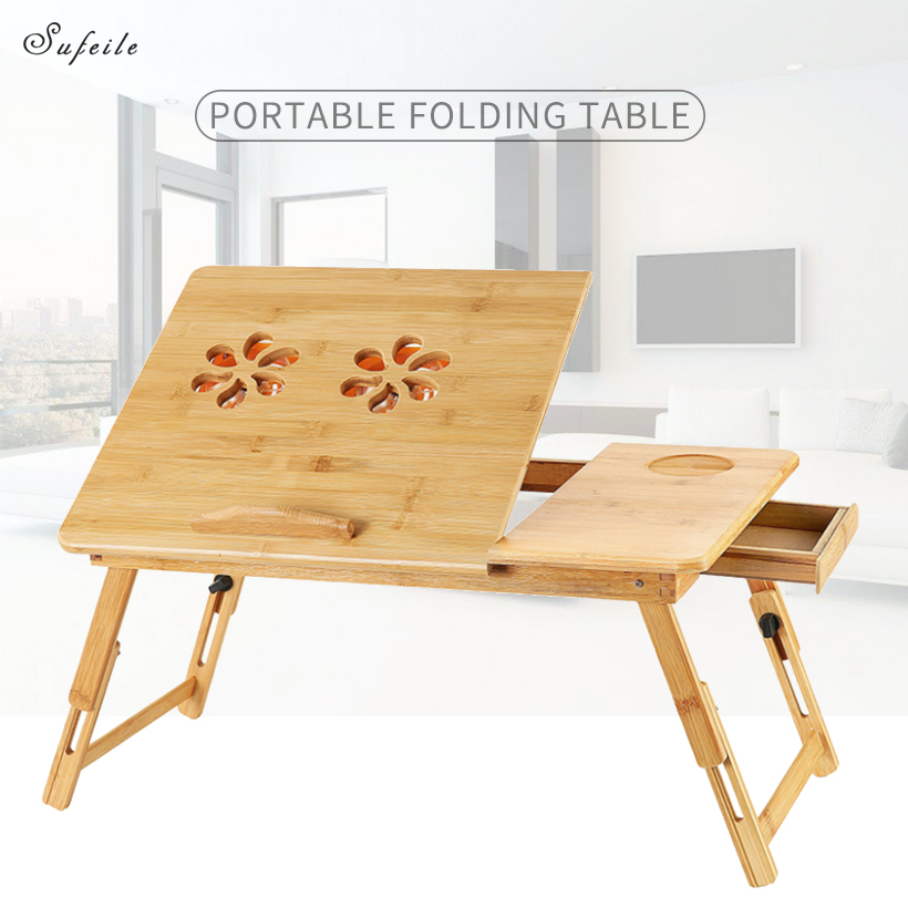 цена на SUFEILE Wooden laptop table Portable bamboo computer desk Folding Office table simple M/L Lazy bed laptop tabl D50