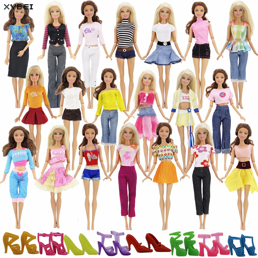 Randomly Pick Lot 20 Pcs/Lot = 10 Shoes +10 Sets Fashion Outfit Blouse Trousers Dress Shorts Pants Skirt Clothes For Barbie Doll 30 new styles festival gifts top trousers lifestyle suit casual clothes trousers for barbie doll 1 6 bbi00636