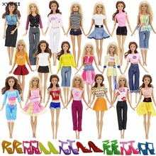 Randomly Pick Lot 20 Pcs/Lot = 10 Shoes +10 Sets Fashion Outfit Blouse Trousers Dress Shorts Pants Skirt Clothes For Barbie Doll