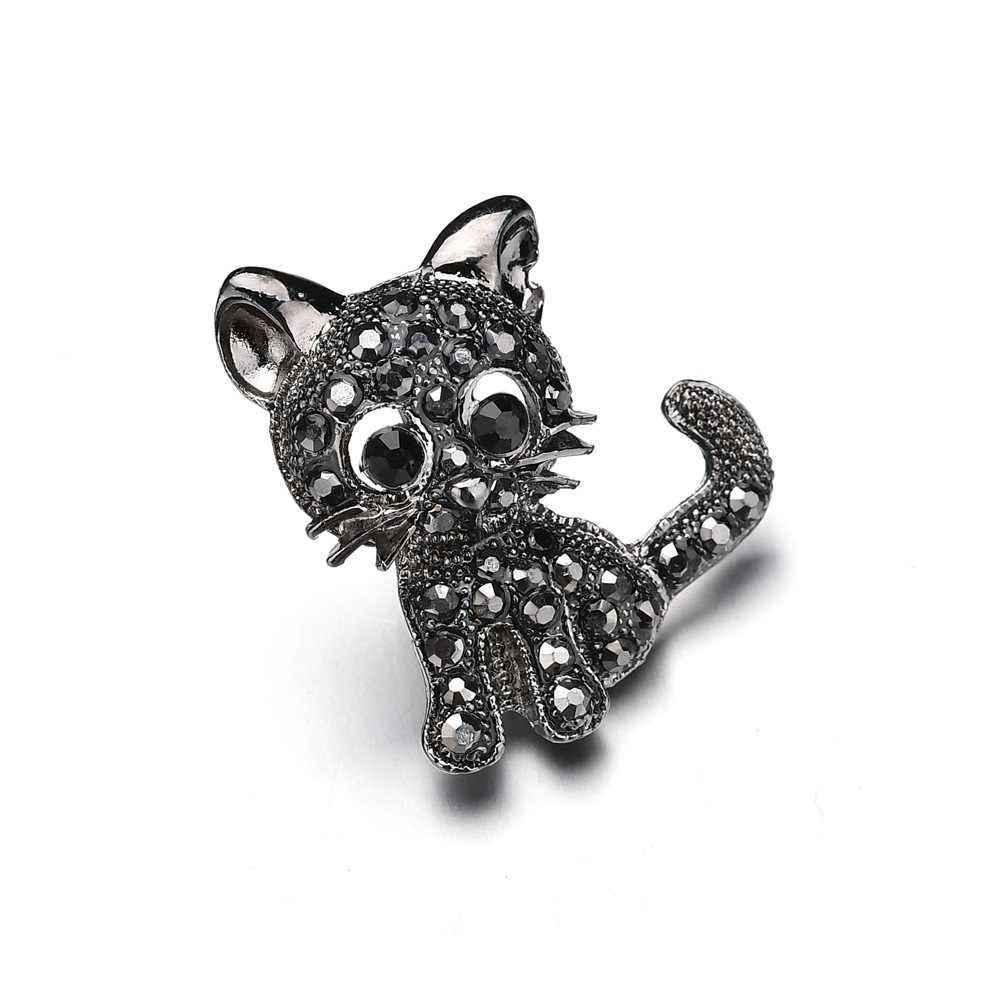 Kualitas Tinggi Panas Cute Hitam Kucing Kecil Bros untuk Wanita Hadiah Aksesoris Vintage Rhinestone Bros Pin Lencana Anak Hadiah