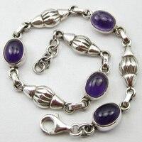 SOLID SILVER Purple Amethysts Handmade Bracelet 8 ! Fashion Jewelry