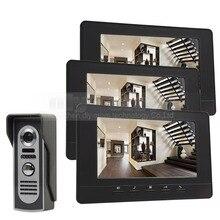 DIYSECUR 7inch Digital Screen Video Intercom Video Door Phone IR Night Vision Outdoor Camera Black 1v3