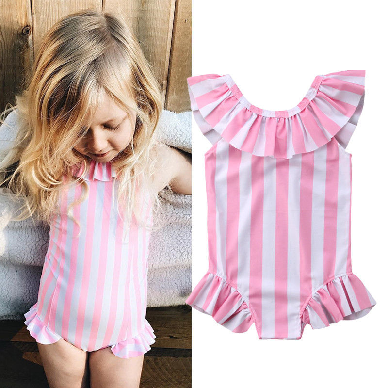 Latest Collection Of Summer Cute Kids Baby Girls Pink Striped Ruffles Bodysuit V-back Swimwear Bathing Suit Beach Holiday Bodysuit Girl Clothes Good Heat Preservation Bodysuits & One-pieces Bodysuits