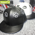 summer style Harajuku PU leather black white Mickey letter embroidery caps mens womens hip hop flat along a couple baseball hat
