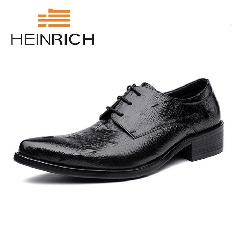 2a24c5c7c Homens Negócio 2018 Heinrich Sapatos Do Black De brown Top Masculinos  Formal Marrom Couro Se Homme Qualidade ...