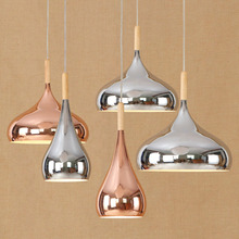 цены Fashion Simple Rose Gold Chrome Color Round Pendent Light Lamp Iron Wood European Style Restaurant Study Cafe Chandelier Decor