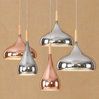 Fashion Simple Rose Gold Chrome Color Round Pendent Light Lamp Iron Wood European Style Restaurant Study