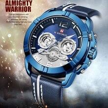 NAVIFORCE, reloj de marca de lujo para hombre, relojes deportivos de cuarzo a la moda, reloj resistente al agua con calendario de cuero para hombre, reloj Masculino