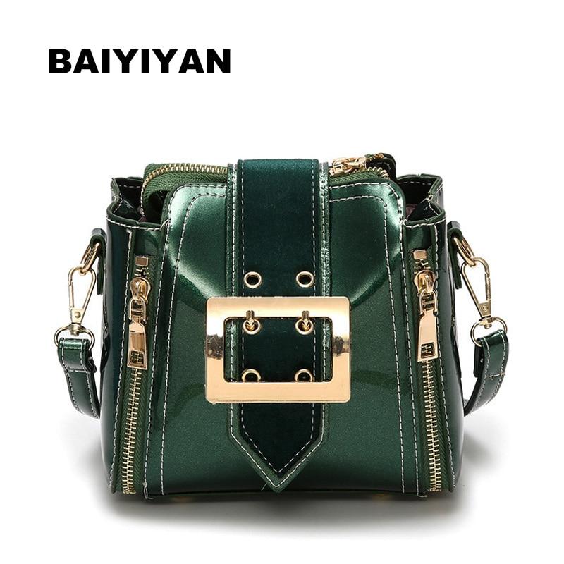 New Women's Shoulder bags ladies handbags elegant bag candy color fashion patent leather handbag mini luxury bucket bag