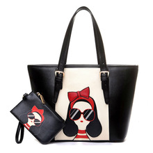 Large Composite Bag Brand Women Leather Handbags Set Ladies Hand Bags Black Panelled Design Cartoon Printing
