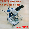 20x-40x Stereo binocular Microscope for cell phone Mobile Phone Repair with Top and Bottom LED light YAXUN AK21 with PCB STAND
