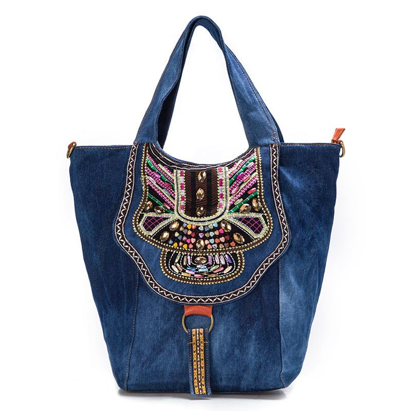 New Chinese denim women ethnic embroidery bag vintage Hmong handmade embroidered bag famous women shoulder bags