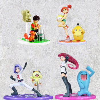 4 stile Anime Abbildung Spielzeug Charmander Misty Psyduck Togepi Team Rakete Brock Vulpix Geodude Anime Modell Puppen