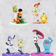 Anime figürü oyuncak Charmander puslu Psyduck Togepi roket takımı Jessie James Meowth Brock Vulpix Geodude Model bebekler