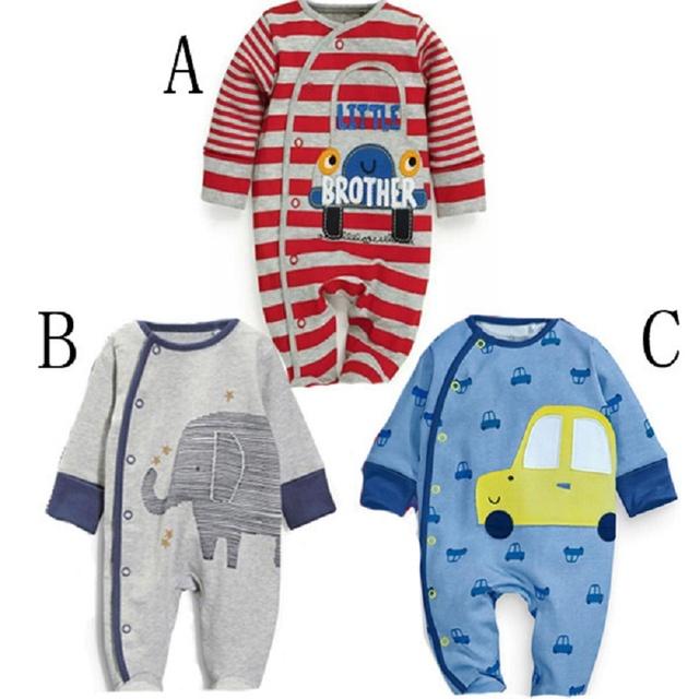 2016 Macacão de Bebê Recém-nascido Do Bebê Do Estilo tarja Primavera Carros Infantil macacão de mangas Compridas de algodão do bebê roupas das meninas dos meninos roupas