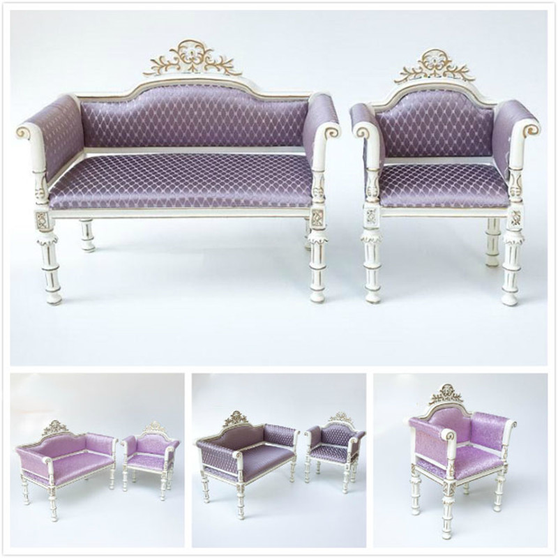 Doub K 1:6 Dollhouse Furniture toy living room Wooden Miniature Sofa chair Kids girls Furniture pretend Play Toys for children