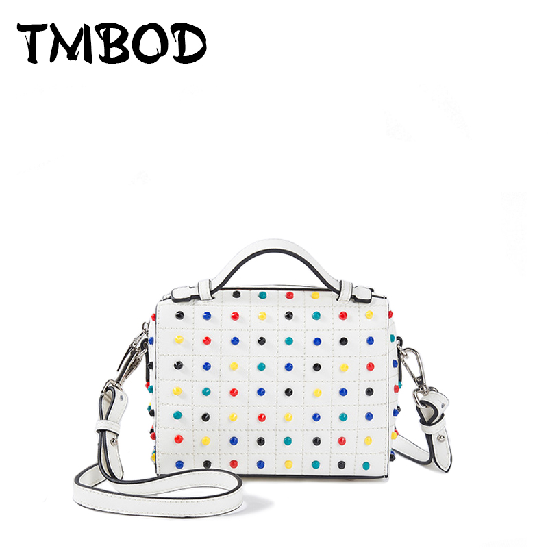 Фотография NEW 2018 Classic Small Crossbody Bag For Female with Colorful Studs Tote Women Split Leather Handbags Lady Messenger Bags an783