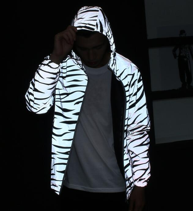 exquisite style ever popular lovely luster US $20.23 15% OFF|Men jacket casual hiphop windbreaker 3m reflective jacket  tide men coat hooded zebra fluorescent clothing-in Jackets from Men's ...