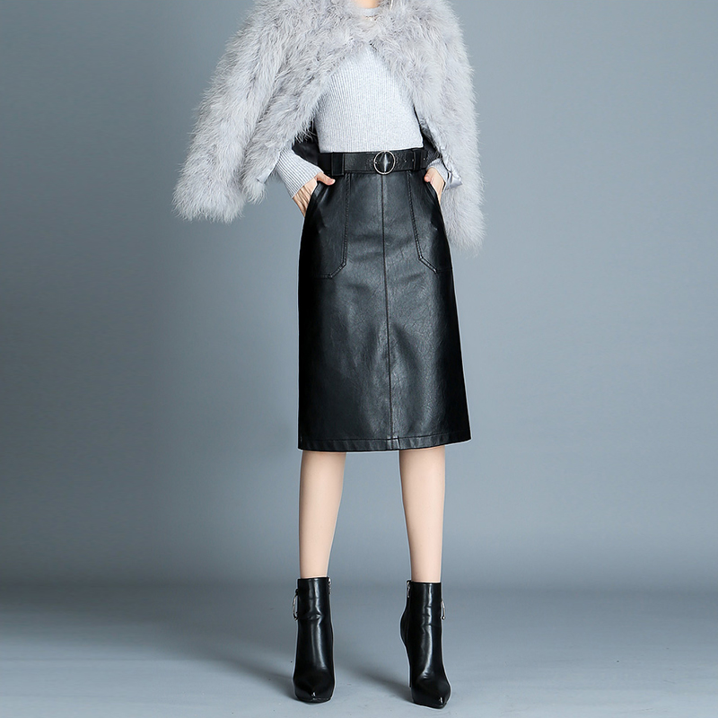 Negra Midi Falda Cintura Sexy Dividido Cuero Black Streetwear Tamaño Mujer Pu Plus De Bolsillos Alta Longuette Faldas vYERRq