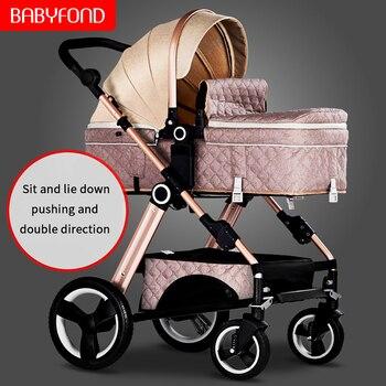 Babyfond2019 new baby stroller high landscape stroller can sit reclining baby car light folding newborn trolley
