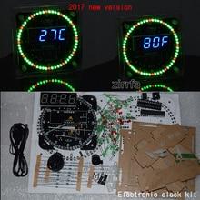 2017 Nueva Versión DS1302 Rotación 51 Tablero de Aprendizaje SMC + caso De Acrílico LED Reloj Electrónico Kit diy