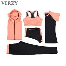 Yoga caliente Conjunto Sujetador Deportes de Las Mujeres + Pants + Shirt + Short + Chaqueta 5 Unidades de Fitness Transpirable Correr Ejercicio chándales Plus up Sportswear