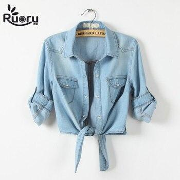 Kimono camisa de mezclilla de manga corta para Mujer Tops Chemise Femme Crop Top Sexy Short Jeans camisa blusa de verano Cool camisetas femeninas