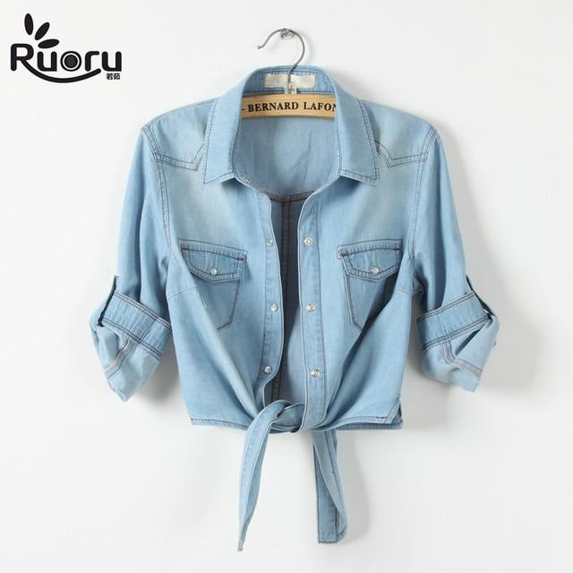 2a235466bd60 kimono Denim Shirt Short Sleeve Womens Tops Chemise Femme Crop Top Sexy  Short Jeans Shirt Blouse Summer Cool Feminine Shirts
