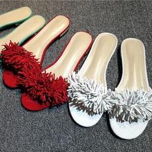 купить Sandalia feminina red fringe slippers women slides summer leather beach flip flops gladiator sandals flats mules shoes luxury по цене 4448.8 рублей