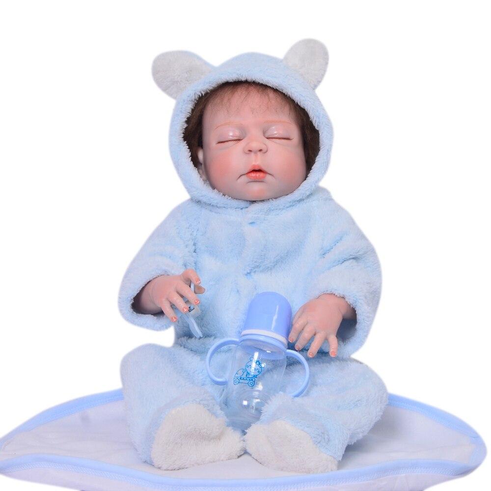 Lifelike 23 inch Closed Eyes Reborn Baby Dolls Newborn Truly 57 cm Full Body Silicone Vinyl Babies Doll For Boy Gifts Palymates