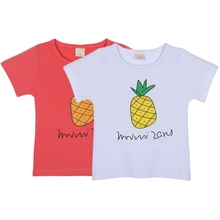 New Summer baby Kids Boys Girls Pinapple Pattern print shirts Crew Neck Short Sleeve T-shirt tops 2-7 Y