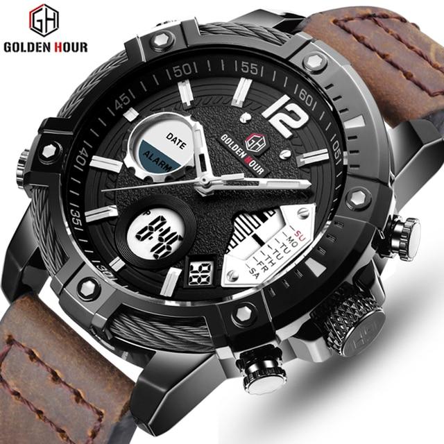 GOLDENHOUR Brand Analog Quartz Watch Men's Sport Watch Men Leather Military Male Clock Waterproof Male Watch Relogio Masculino