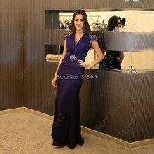 Neue Ankunft Royal Purple Robe De Soiree Mermaid Langes Abendkleid Cap Kurzarm Kristalle Frauen Formales Abschlussball-kleider 2016