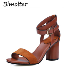 Bimolter 8cm Thick High Heels Shoes For Women Mature Style Peep Toe Buckle Strap Summer Shoes Office Lady Fashion Pumps FC020