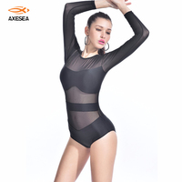 New Black Sexy Transparent Mesh Swimwear Women Bandeau Bathing Suit Long Sleeve High Neck Vintage One