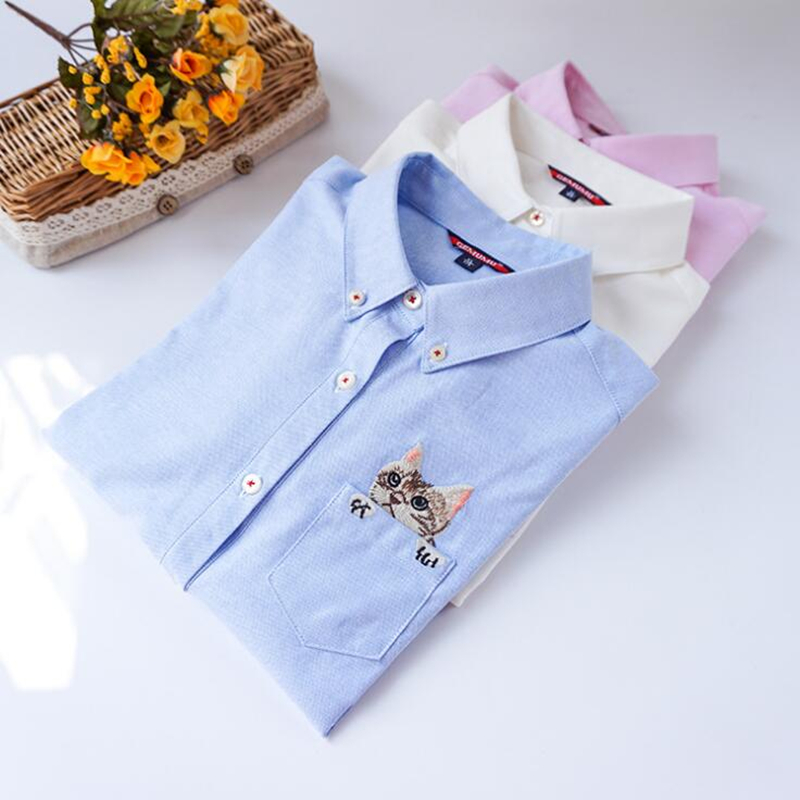 2019 Autumn New Fashion Women   Blouses   Slim Loose Turn-down Collar Long Sleeve Cat Embroidered   Shirts   Tops Clothes S-XL