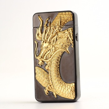 Newest usb charging electric double arc plasma lighter eletronic windproof dragon lighters for smoker cigarettes cigar gifts 4