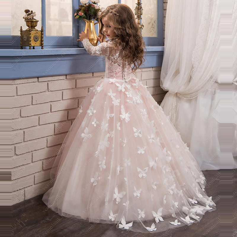 4 colors Tulle Lace Appliques Flower Girl Dresses for Wedding First Communion Dresses Party Dress Pageant Girls Ball Gown D90 2018 princess white flower girl dresses for wedding ball gown sweep train girls pageant dresses lace tulle for wedding party