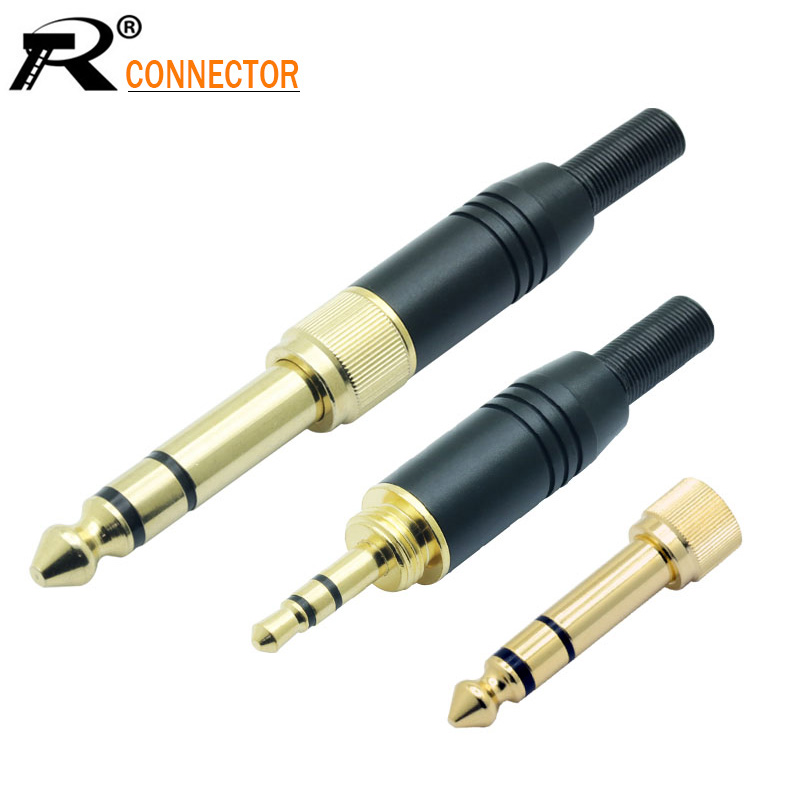 2 In 1 Aluminum Assembly Wire Connector Gold-plated Audio Speaker Plug With Spring 3.5mm Jack Male Screw Plug To Jack 6.35 Male