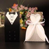 100 sztuk Biały i Czarny Bride and Groom Oblubieniec Ślub Sprzyja Bombonierek Pudełko Cukierków Papieru Gorąca Sprzedaż Nowa
