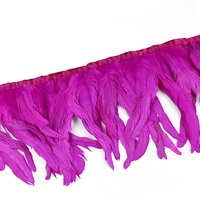 Wholesale 30 35CM Rose Red Rooster Feather Cloth Coque Feather Trim Ribbon DIY Gown Dress Decoration Accessories
