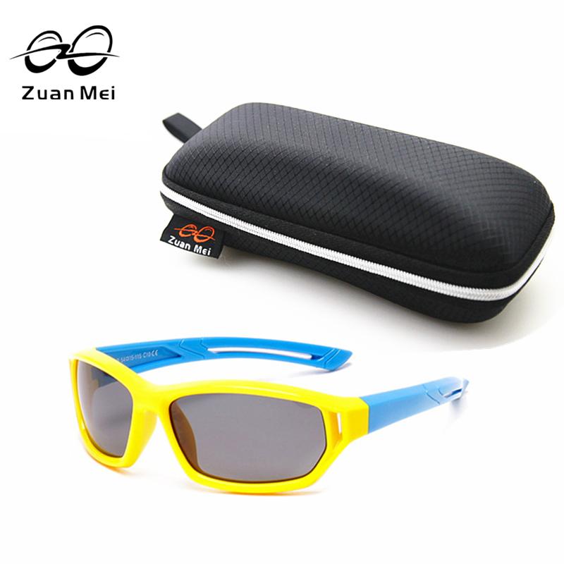 Zuan Mei Brand Tour TR90 Polarized Children Sunglasses Baby Boy Cool Glasses Plastic Titanium Sun Glasses